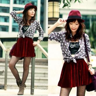 skirt romwe crimson burgundy velvet velvet skirt