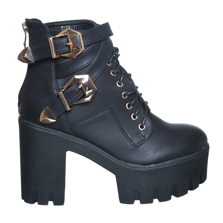Amazon.com: lace up platform ankle round toe bootie (7.5, blackpu11) [apparel]: shoes