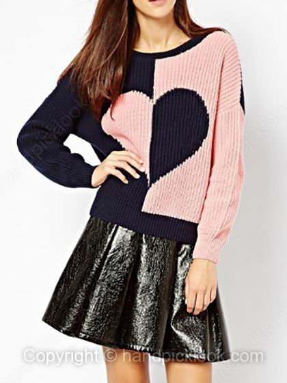 Pink Contrast Navy Round Neck Long Sleeve Heart Pattern Sweater - HandpickLook.com
