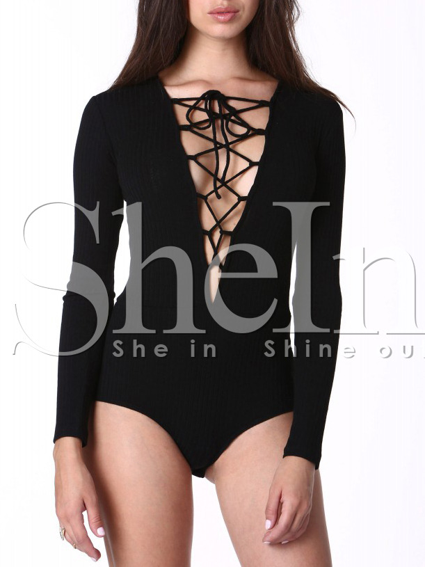 a827ad3616 Black Long Sleeve Lace Up Bodysuit -SheIn(Sheinside)