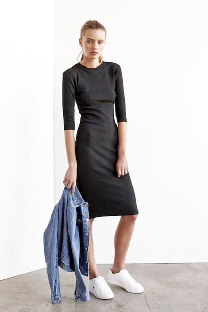 907955fd4c14 le fashion blogger black dress long sleeve dress long dress denim jacket  white sneakers