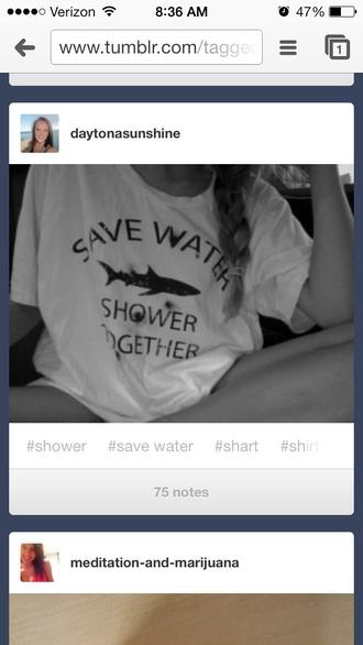 shirt shower sea creatures t-shirt save water summer beach comfy shark water crop tops