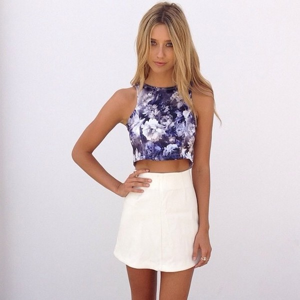 Shirt purple floral crop tops blue and white tee crop for Tight t shirt crop top