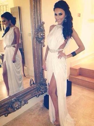 dress prom dress white dress open sides