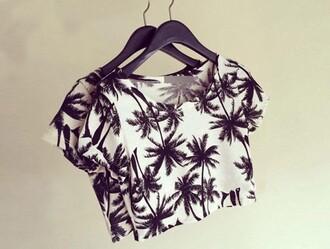 black and white palm tree print printed t-shirt