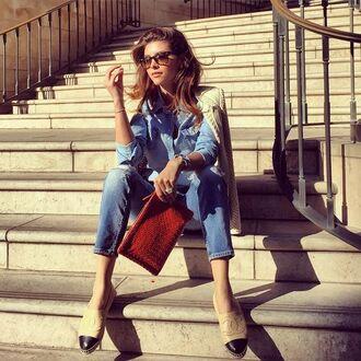 shoes shiva safai celebrity chanel espadrilles espadrilles jeans blue jeans bag brown bag shirt denim shirt blue shirt jacket white jacket sunglasses