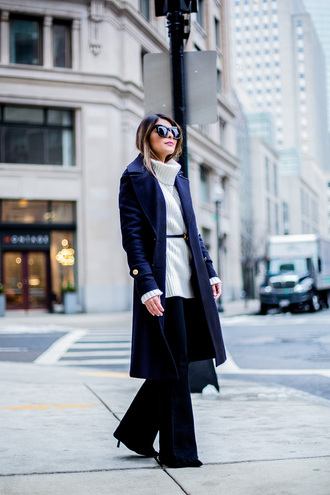 coat tumblr work outfits office outfits winter work outfit blue coat sweater white sweater turtleneck turtleneck sweater belt pants black pants wide-leg pants sunglasses black sunglasses blue long coat