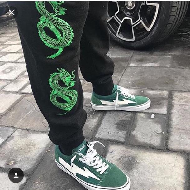 pants green dragons black joggers