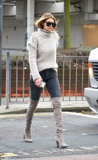 sweater gigi hadid boots grey boots thigh-high boots over the knee boots grey sweater turtleneck sweater shoes turtleneck fall outfits