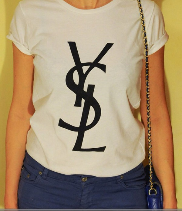 Ysl authentic women 39 s yves saint laurent t shirt black for Ysl logo tee shirt