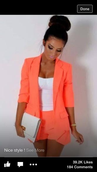 shorts and blazer coral jacket cabana neon orange blazer and shorts