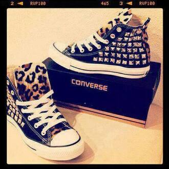 shoes converse black leopard print all star studs sneakers print stud silver