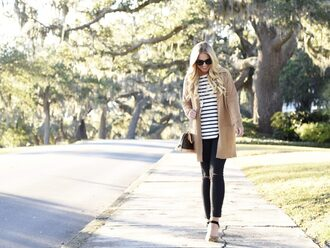cortinsession blogger cardigan t-shirt jeans bag shoes sunglasses jewels striped top high heels beige coat fall outfits