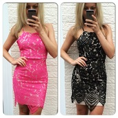 dress,ikandi boutique,party dress,lace dress,lace,crochet,pink dress,black dress,sexy dress,sexy,scalloped dress,floral,backless,backless dress,side bag,outfit,fashion,trendy,style,cute,prom dress,evening dress,mini dress,bodycon,bodycon dress