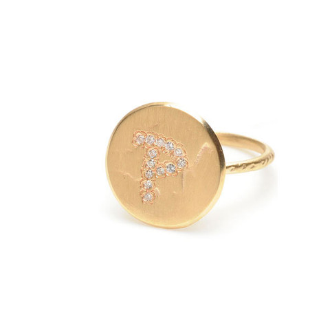 Page Sargisson - Gold Letter Ring - Diamonds