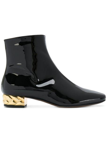 L'Autre Chose heel women ankle boots leather black shoes