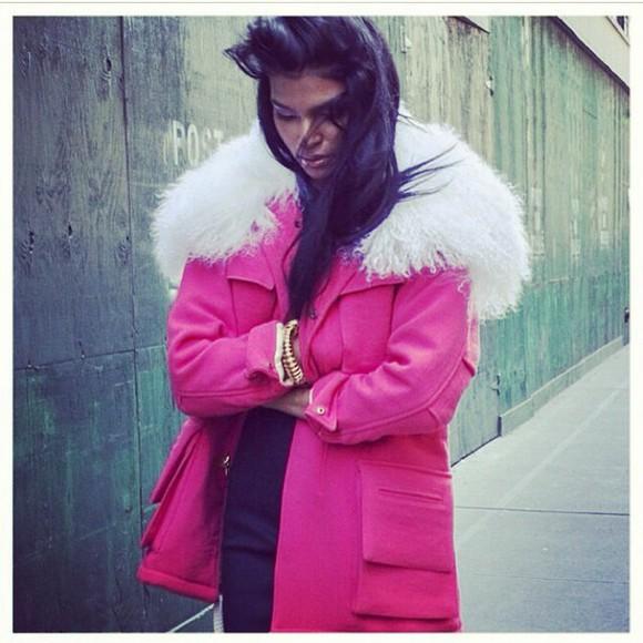 duffle coat parka coat pink coat fur hood fur collar coat pink fuschia
