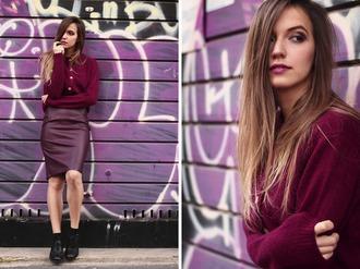 fashion quite blogger leather skirt burgundy skirt burgundy sweater straight hair