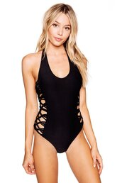 swimwear,halter straps tie across back,frankies bikini,black,one piece swimsuit,seamless one piece,cheeky coverage,bikiniluxe