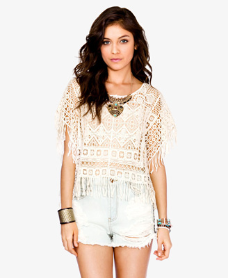 Fringed Crochet Top Forever21 2035708702