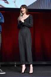 jumpsuit,pants,top,blouse,dakota johnson,pumps,stripes