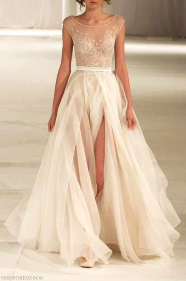 slit dress chiffon dress lace wedding dress prom dress off-white dress peach dress see through dress wedding dress white sparkle glitter white dress sheer elegant pastel colors lace long dresds prom graduation dress grad dress lace dress nude dress sheer top cream gold gold dress lace gown nude