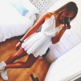 white dress skater dress ruffle dress lwd mini dress dress