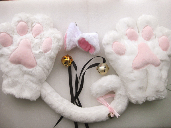 3 Color Cat Maid Cosplay Neko Anime Animal Party Costume Lolita Paws Ear Tail | eBay