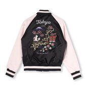 jacket,tokyo fashion,japan,japanese,japanese fashion,bomber jacket,satin bomber,pink bomber jacket,black bomber jacket,black,pink,varsity jacket,asian,asian fashion,japanese writing,hipster,aesthetic,tumblr,grunge