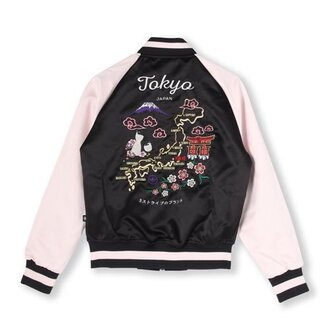 jacket tokyo fashion japan japanese japanese fashion bomber jacket satin bomber pink bomber jacket black bomber jacket black pink varsity jacket asian asian fashion japanese writing hipster aesthetic tumblr grunge