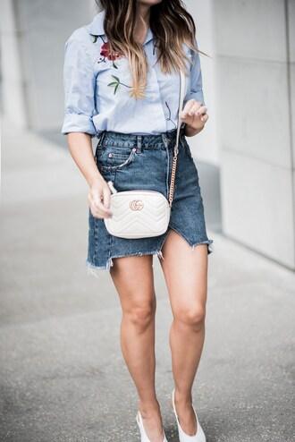 skirt mini skirt denim skirt distressed denim shirt embroidered shirt pumps blogger blogger style crossbody bag