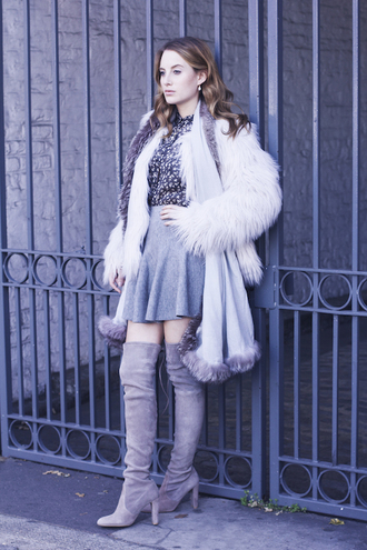 at fashion forte blogger jacket scarf jewels fluffy grey skirt thigh high boots circle skirt floral shirt