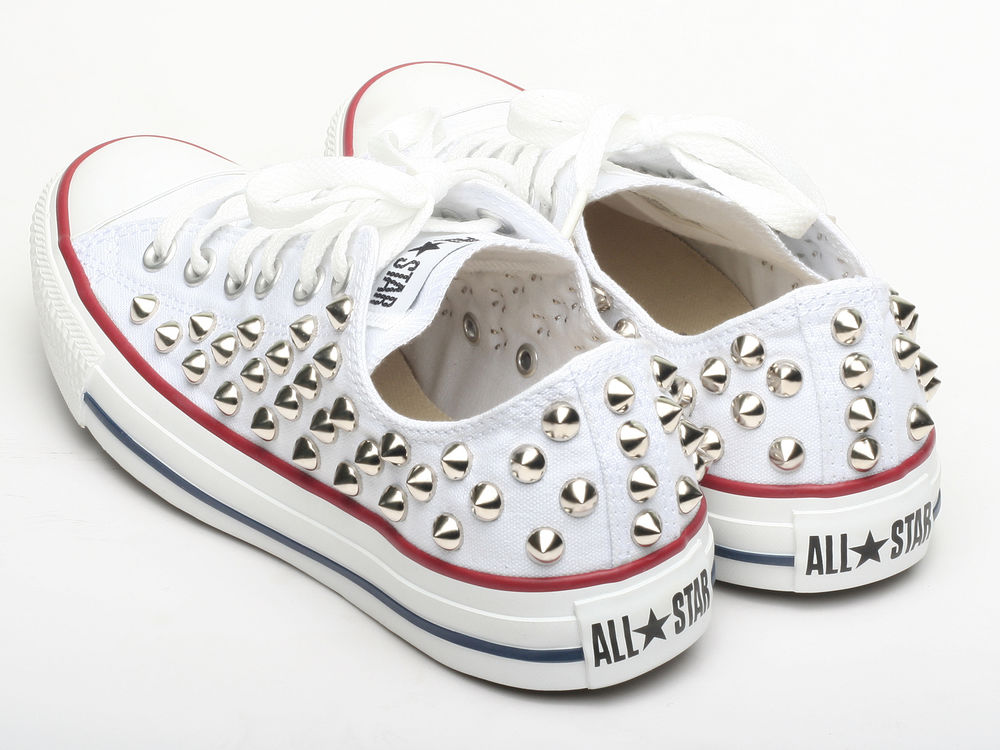 ada99088c79 Genuine Converse All Star shoes Low white Spike stud color Silver Fashion  Sneake