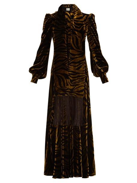 dress velvet dress zebra print velvet gold black
