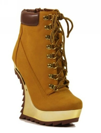 shoes camel wedge boots