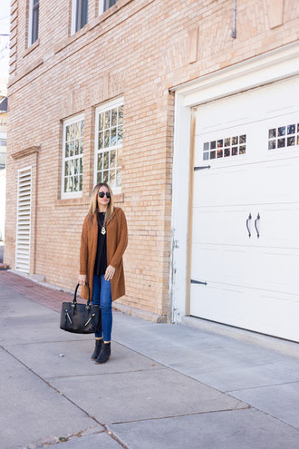 eatpraywearlove blogger sweater jeans shoes bag sunglasses jewels fall outfits camel coat fall coat ankle boots handbag camel cardigan black top necklace black bag skinny jeans blue jeans