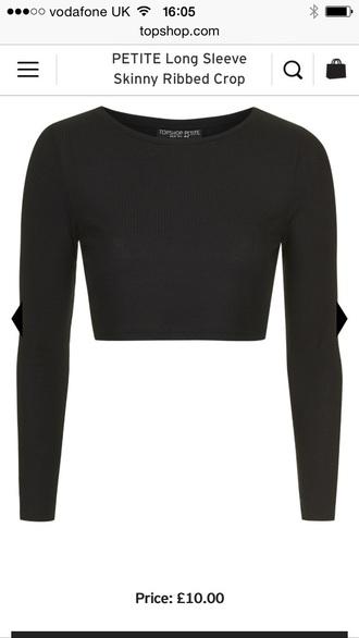 top crop tops long sleeved black