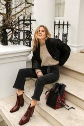 shoes,boots,cowboy boots,jacket,black jacket,sweater,beige sweater,bag,tartan,burgundy,jeans,black jeans,denim