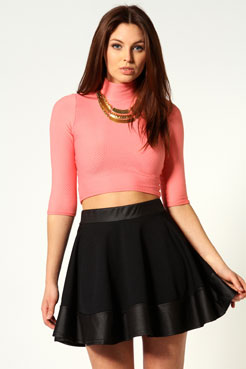 Lulu PU Trim Skater Skirt at boohoo.com