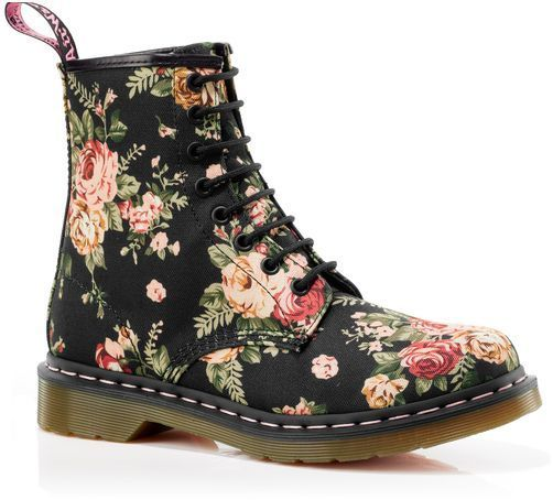 New Doc Dr Martens 1460 Womens Print Black Victorian Flowers | eBay