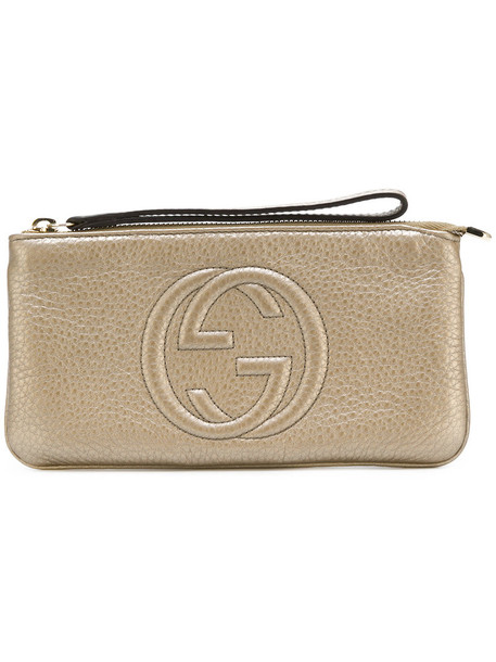Gucci - GG embossed pouch - women - Leather - One Size, Grey, Leather in metallic