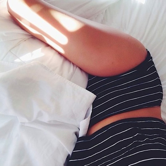 stripes underwear twin set minimal navy crop high waisted underwear