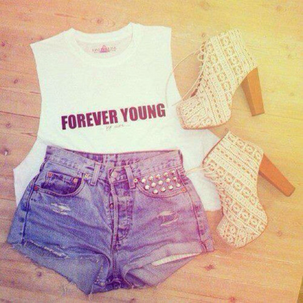 shirt pretty nice hot shoes blonde hair shorts black white forever young forever young shirt blonde shoes outfit t-shirt swag white t-shirt forever young t-shirt blouse short