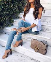 jeans,denim,beige leather,white,nude,tan,summer,summers,sun,ripped jeans,spring outfits,sandals,high heel sandals,off the shoulder,summer outfits,brunette,jewelry,boho shirt,boho jewelry,sea,blouse