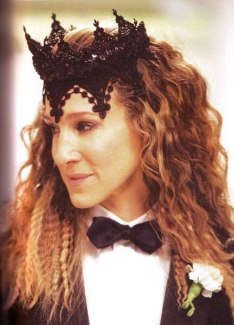 hair accessory carrie bradshaw sex and the city lace crown black crown hollywood hair crown halloween accessory sexy sarah jessica parker