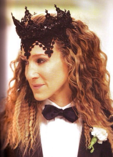 hair accessory carrie bradshaw sex and the city lace crown black crown hollywood hair crown halloween accessory sexy sarah jessica parker hat