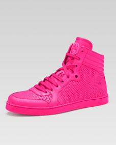 Gucci Coda Neon Leather High-Top Sneaker, Pink - Neiman Marcus