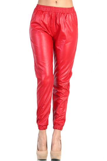 OMG LEATHER TRACK PANTS - RED