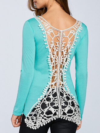 top mint blue long sleeves open back fashion style trendy zaful