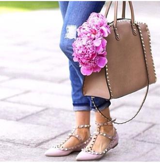 shoes flats valentino valentino bag valentino shoes brown bag